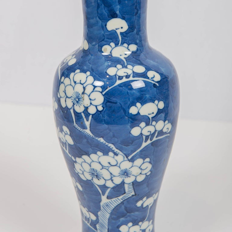 Chinese Blue and White Vases Decorated with Flowering Plum Trees Made circa 1880 For Sale 2