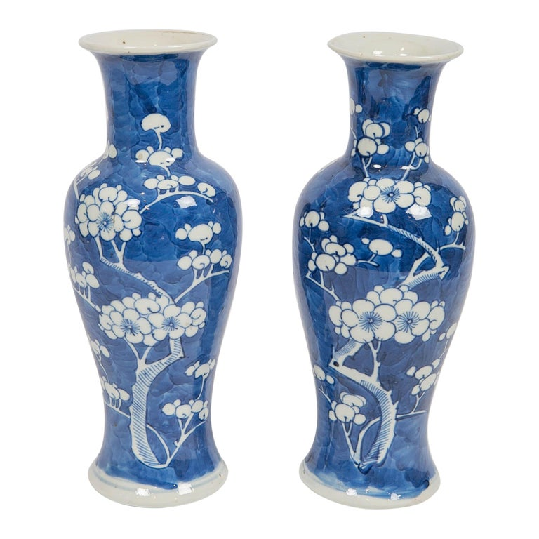 Chinese Blue and White Vases Decorated with Flowering Plum Trees Made circa 1880 For Sale