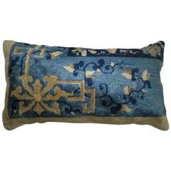 Chinese Blue Beige Bolster Rug Pillow