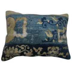 Chinese Blue Beige Lumbar Rug Pillow