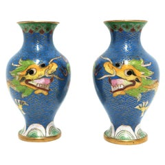 Chinese Blue Dragon Cloisonné and Brass Vases, a Pair