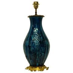 Chinese Blue Glazed Vase Lamp on an Ormolu Base