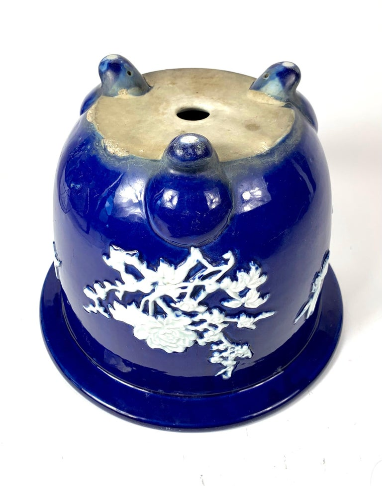 20th Century Chinese Blue Pate Sur Pate Planter Jardinière with Flowers and Bug For Sale