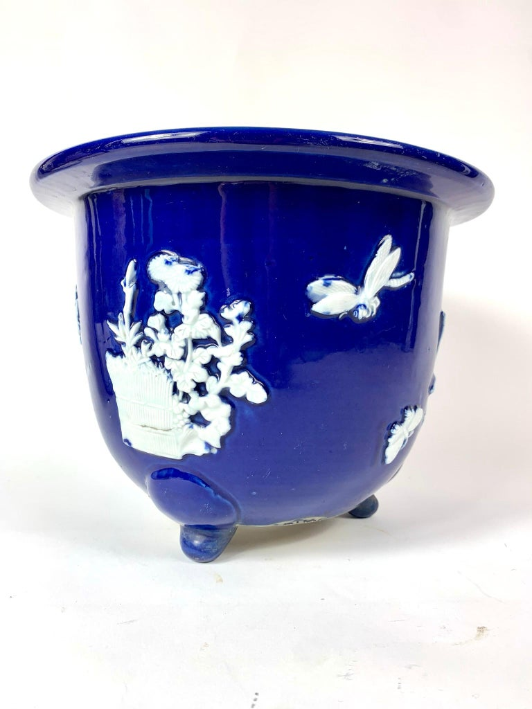 Porcelain Chinese Blue Pate Sur Pate Planter Jardinière with Flowers and Bug For Sale