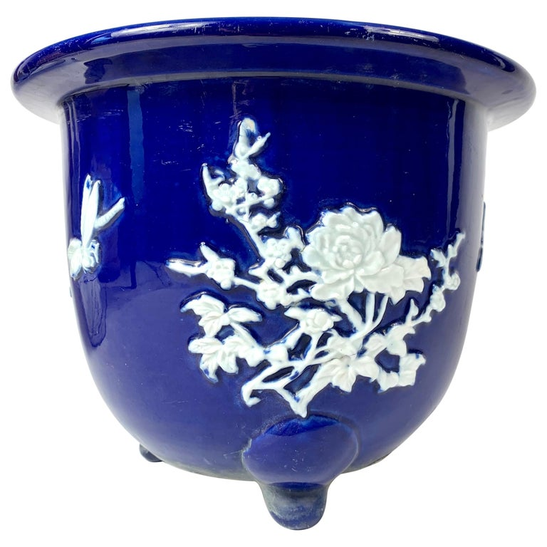 Chinese Blue Pate Sur Pate Planter Jardinière with Flowers and Bug For Sale