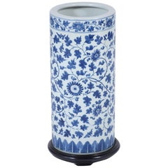 Chinese Blue Porcelain Umbrella Stand