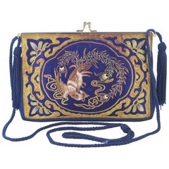 Chinese Blue Silk Embroidered Rooster Design Evening Bag circa 1930s