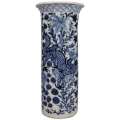 Chinese Blue & White Canton Dragon & Lotus Floral Porcelain Vase, 20th Century