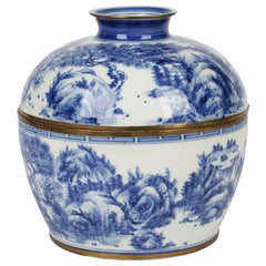 Chinese Blue & White Porcelain Rice Bowl & Cover Painted with Landscapes