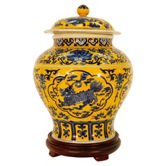 Chinese Blue and Yellow Porcelain Ginger Jar
