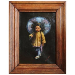 """""""Chinese Boy"""", a Charming Study, Framed Oil on Canvas, circa 1900"""