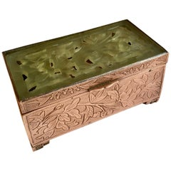 Chinese Brass and Carved Jade Box