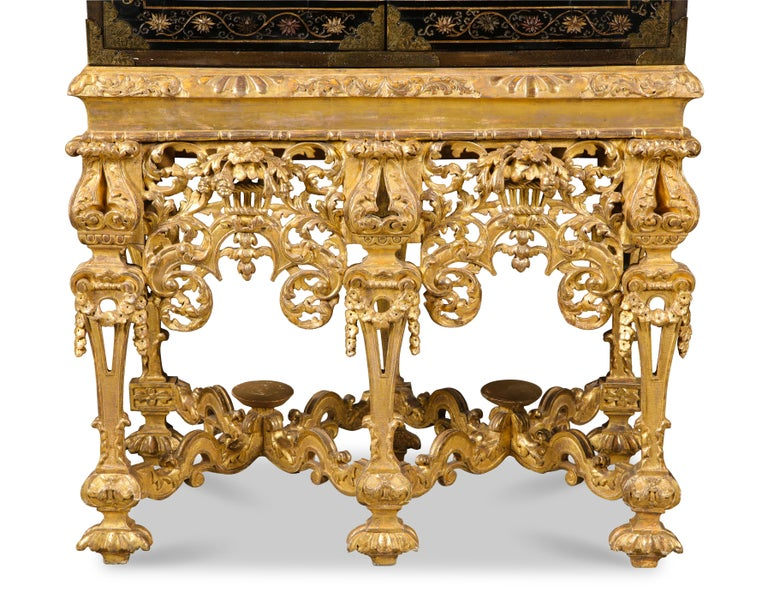 English Chinese Brass-Mounted Coromandel Lacquer Cabinet on a Charles II, circa 1685 For Sale