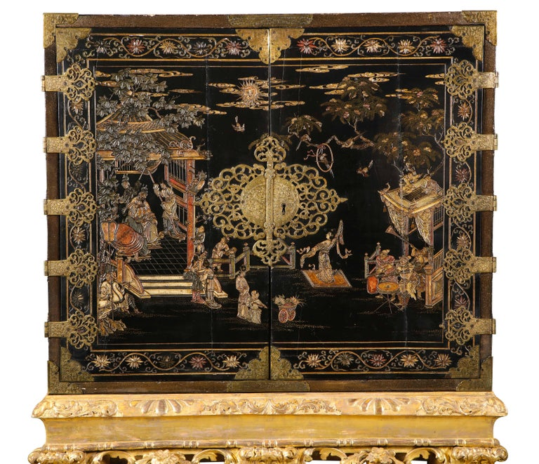 18th Century and Earlier Chinese Brass-Mounted Coromandel Lacquer Cabinet on a Charles II, circa 1685 For Sale