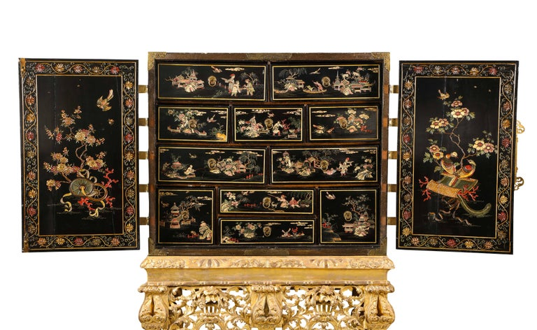 Chinese Brass-Mounted Coromandel Lacquer Cabinet on a Charles II, circa 1685 For Sale 1