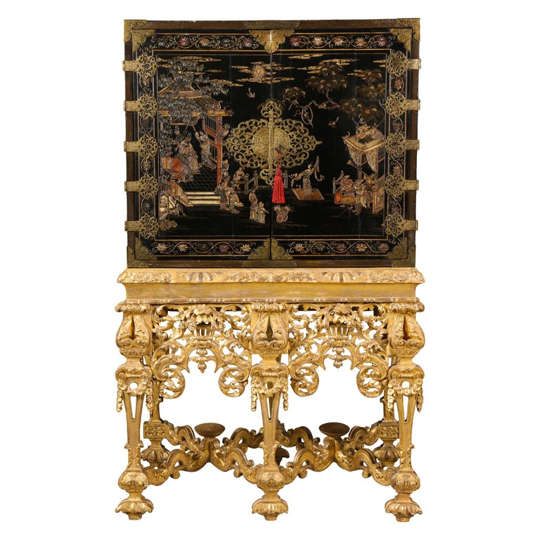 Chinese Brass-Mounted Coromandel Lacquer Cabinet on a Charles II, circa 1685 For Sale