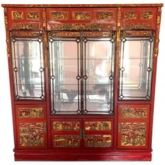 Chinese Breakfront in Carved and Lacquered Wood with Mirrored Back