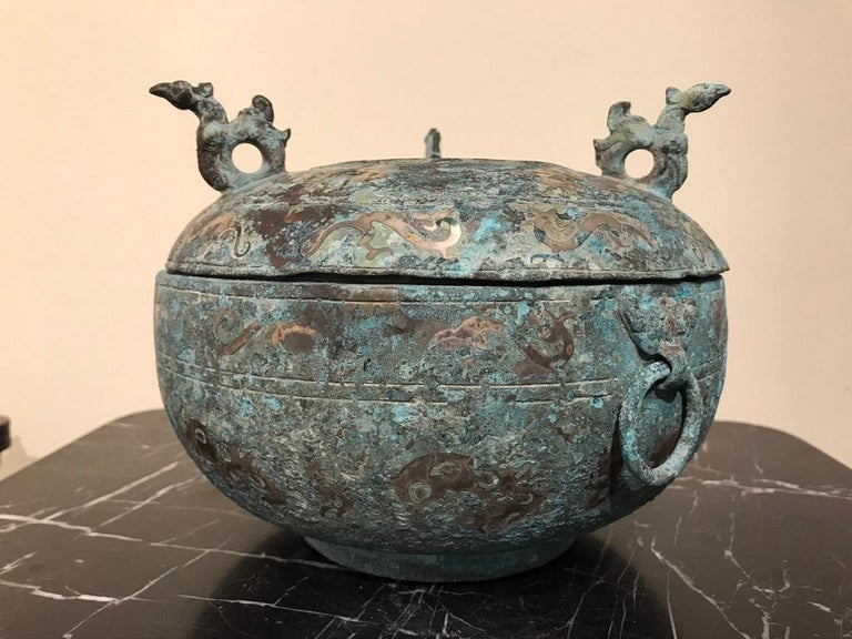 Chinese Bronze Archaistic Lidded Vessel with Silver Inlay and Bird Handles For Sale 7