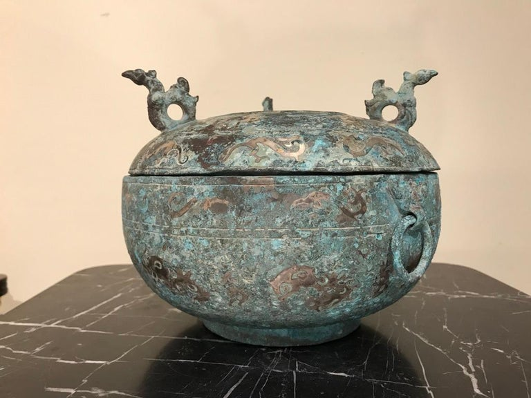 Chinese Bronze Archaistic Lidded Vessel with Silver Inlay and Bird Handles For Sale 8
