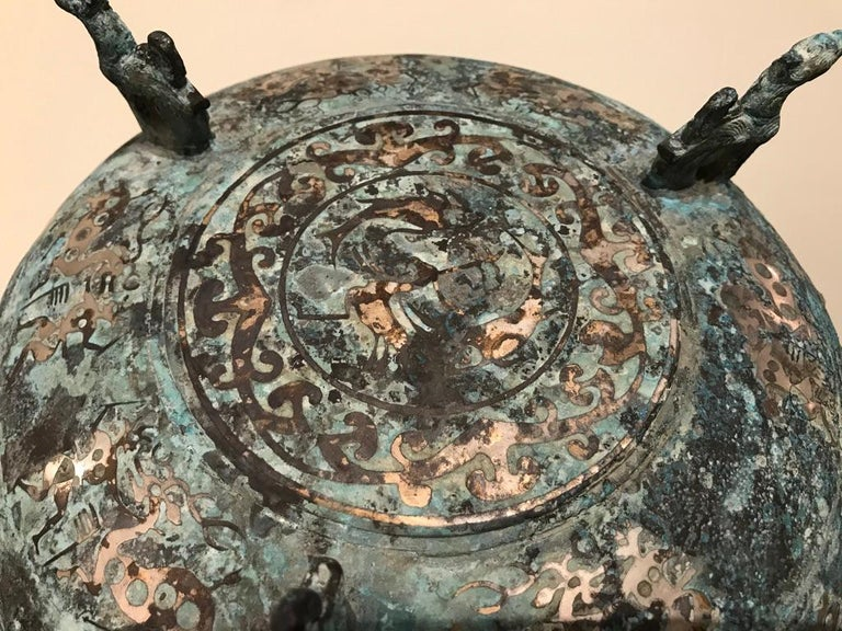 Chinese Bronze Archaistic Lidded Vessel with Silver Inlay and Bird Handles For Sale 13