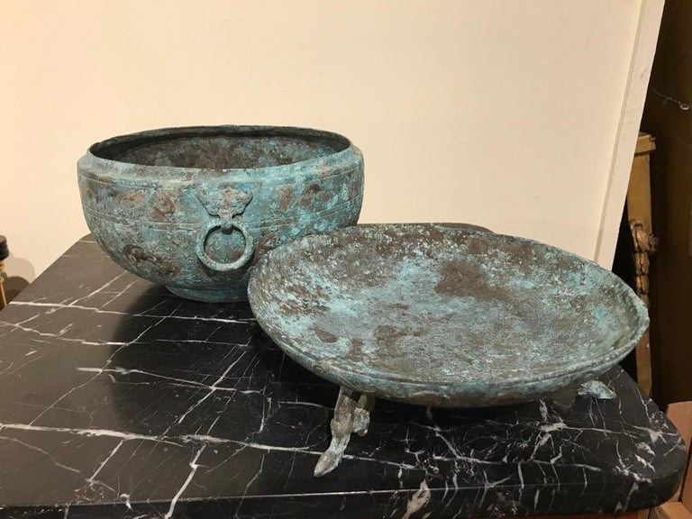 Chinese Bronze Archaistic Lidded Vessel with Silver Inlay and Bird Handles For Sale 14