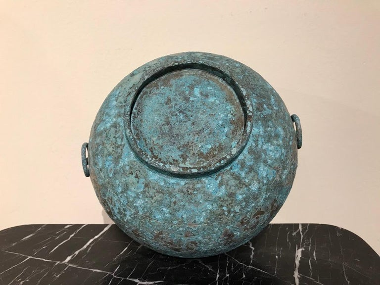 Chinese Bronze Archaistic Lidded Vessel with Silver Inlay and Bird Handles For Sale 15