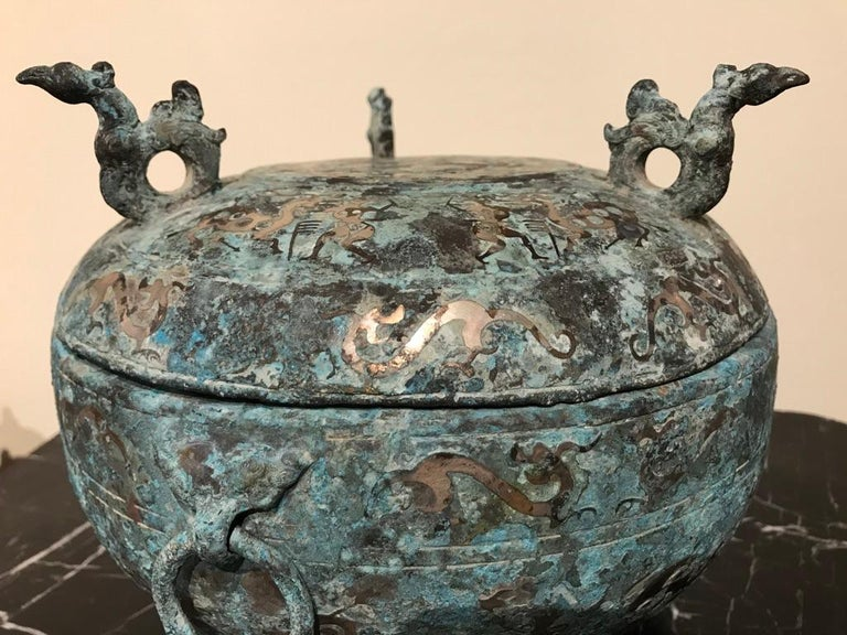 Chinese Bronze Archaistic Lidded Vessel with Silver Inlay and Bird Handles For Sale 5