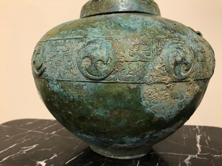 Chinese Bronze Archaistic Lidded Vessel with Verdigris Patina For Sale 10