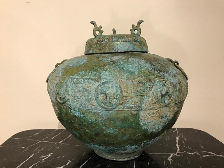 Chinese Bronze Archaistic Lidded Vessel with Verdigris Patina For Sale 11
