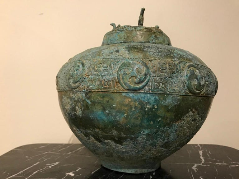 Chinese Bronze Archaistic Lidded Vessel with Verdigris Patina For Sale 13