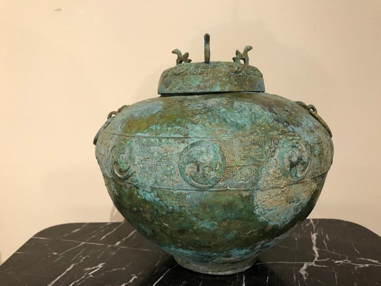 Chinese Bronze Archaistic Lidded Vessel with Verdigris Patina For Sale 14
