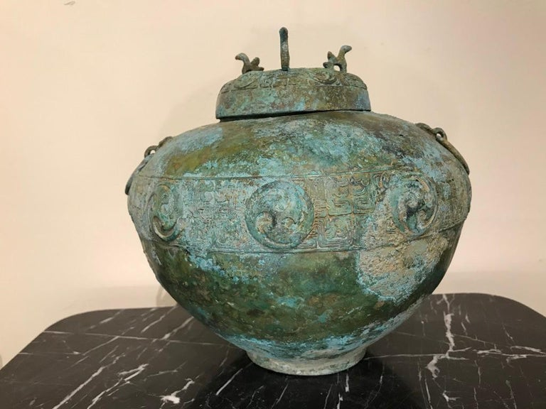 Chinese Bronze Archaistic Lidded Vessel with Verdigris Patina For Sale 15