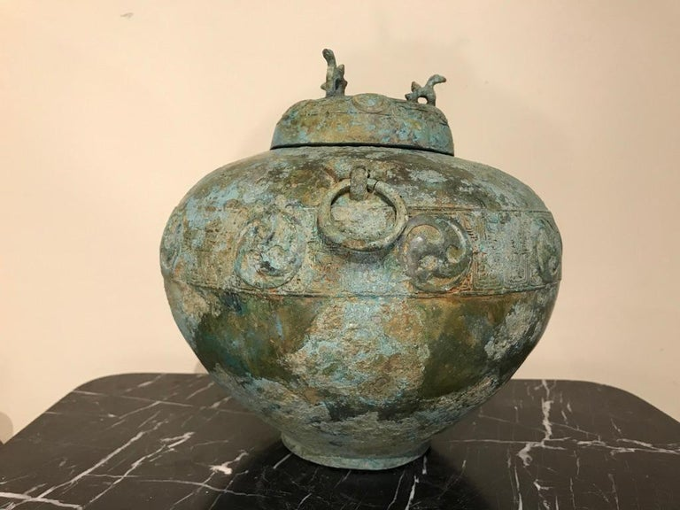 Cast Chinese Bronze Archaistic Lidded Vessel with Verdigris Patina For Sale