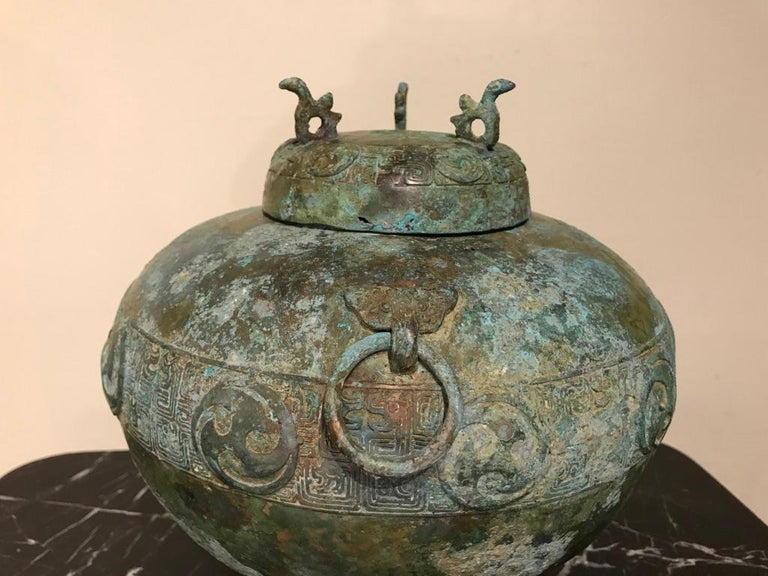 Chinese Bronze Archaistic Lidded Vessel with Verdigris Patina For Sale 3