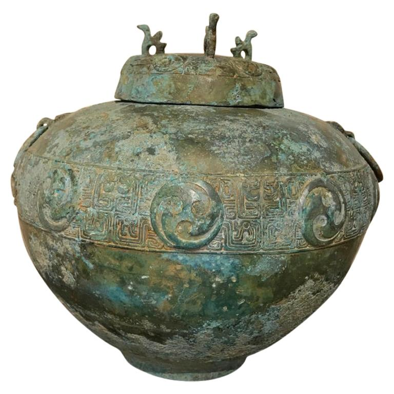 Chinese Bronze Archaistic Lidded Vessel with Verdigris Patina For Sale
