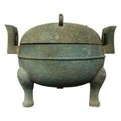 Chinese Bronze Archaistic Ritual Vessel with Verdigris Patina