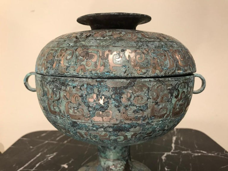 Chinese Bronze Archaistic Vessel with Silver Inlay and Verdigris Patina For Sale 5