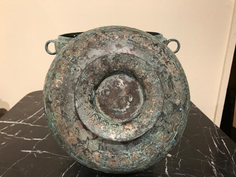 Chinese Bronze Archaistic Vessel with Silver Inlay and Verdigris Patina For Sale 9