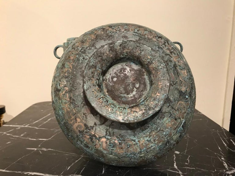 Chinese Bronze Archaistic Vessel with Silver Inlay and Verdigris Patina For Sale 10
