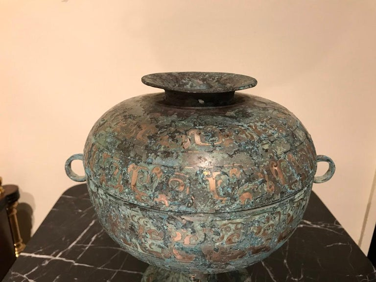 Chinese Bronze Archaistic Vessel with Silver Inlay and Verdigris Patina For Sale 14