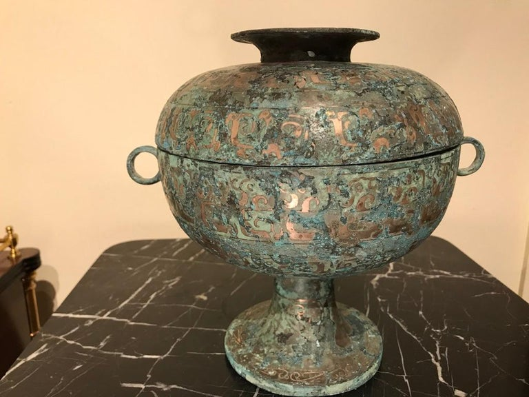 Chinese Bronze Archaistic Vessel with Silver Inlay and Verdigris Patina In Good Condition For Sale In Stamford, CT
