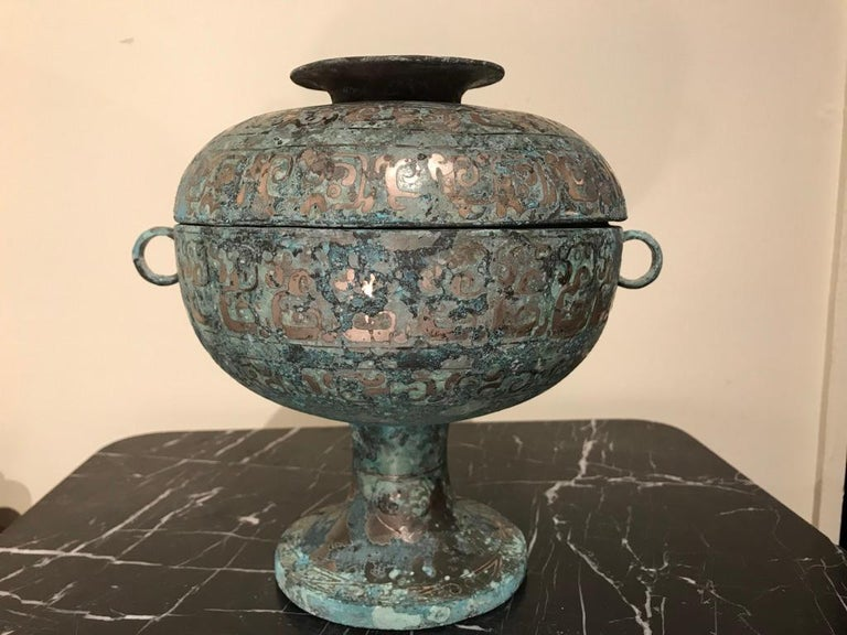 Chinese Bronze Archaistic Vessel with Silver Inlay and Verdigris Patina For Sale 4