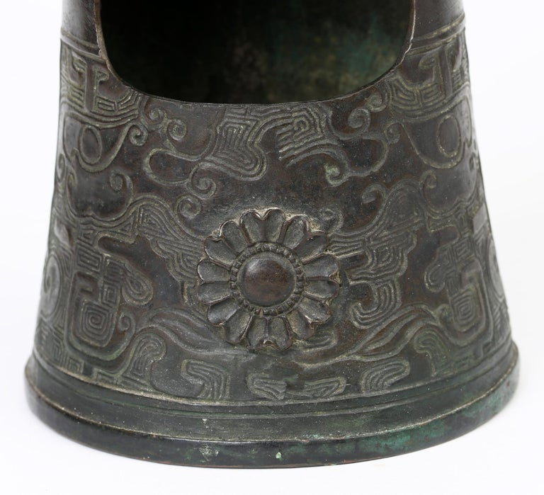Chinese Bronze Bell Shaped Censer Mounted With Buddhistic Lions  For Sale 6