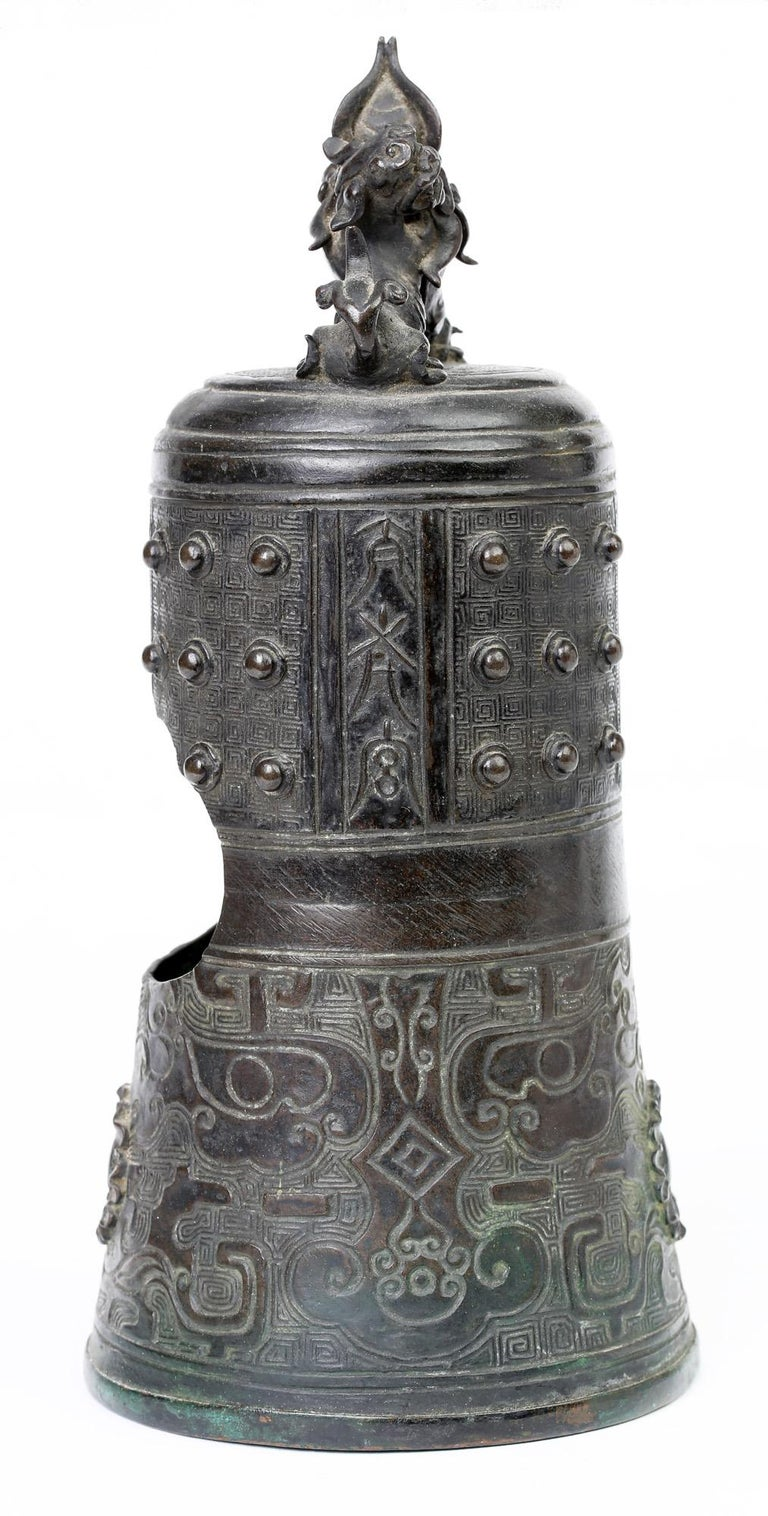 Chinese Bronze Bell Shaped Censer Mounted With Buddhistic Lions  For Sale 7