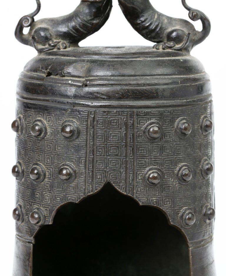 Chinese Bronze Bell Shaped Censer Mounted With Buddhistic Lions  For Sale 8
