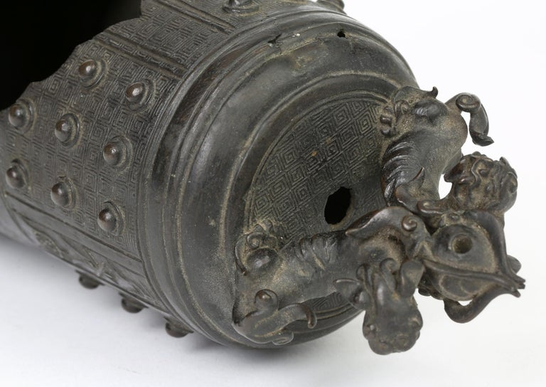 Ming Chinese Bronze Bell Shaped Censer Mounted With Buddhistic Lions  For Sale