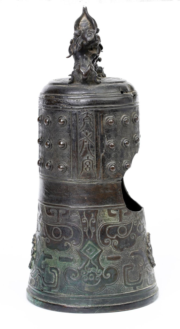Asian Chinese Bronze Bell Shaped Censer Mounted With Buddhistic Lions  For Sale