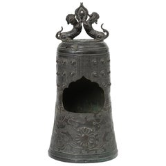 Chinese Bronze Bell Shaped Censer Mounted With Buddhistic Lions