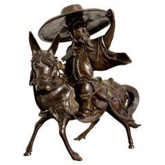 Chinese Bronze Censer, Scholar Riding Donkey, Qing Dynasty, 19th Century, China