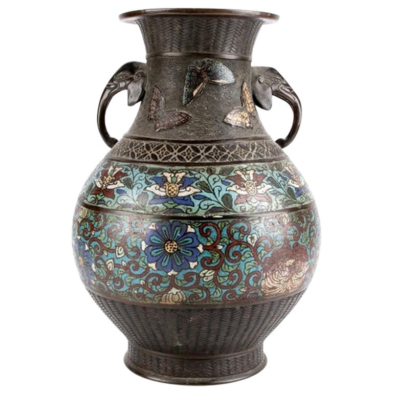Chinese Bronze Champlevé Twin-Handled Urn